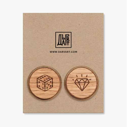 Дървени бутонели /ръкавели/ с гравюра 'Джакпот', изцяло ръчна изработка, ДървАрт