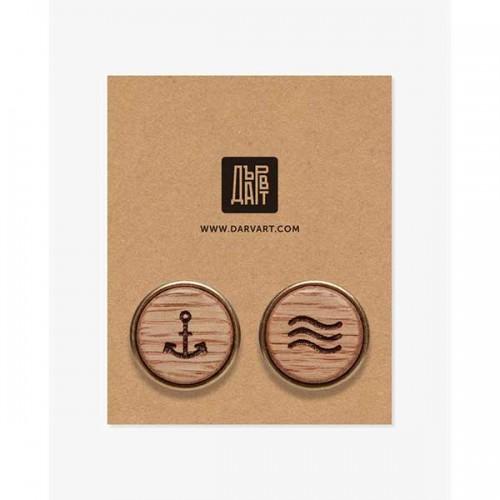 Дървени бутонели /ръкавели/ с гравюра 'Мореплавател', изцяло ръчна изработка, ДървАрт