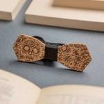 Дървена папийонка с гравюра модел 'Инк', изцяло ръчна изработка, ДървАрт