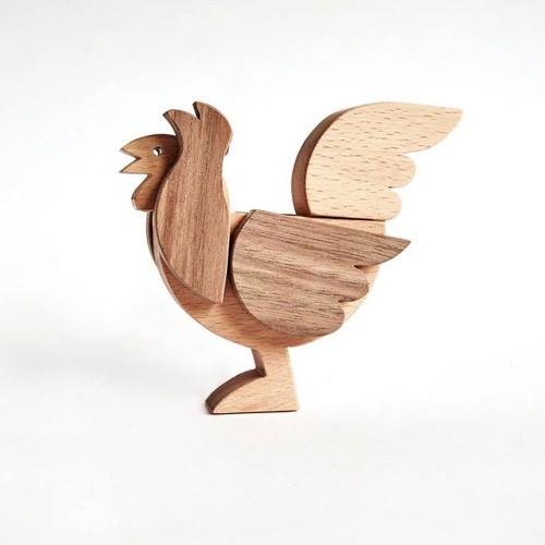 Магнитна дървена играчка-пъзел ПЕТЕЛ, изработена изцяло на ръка от масив 'ESNAF' by Archabits