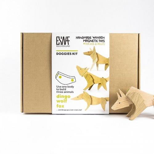 Магнитни дървени играчки - комплект от 3 животни 'DOGGIES' с 1 общо тяло, изработен изцяло на ръка от масивна дървесина 'ESNAF' by Archabits
