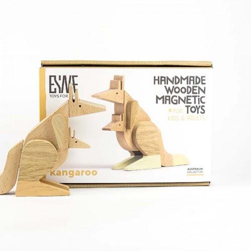 Магнитна играчка - Кенгуру, изработена изцяло на ръка от масивна дървесина 'ESNAF' by Archabits