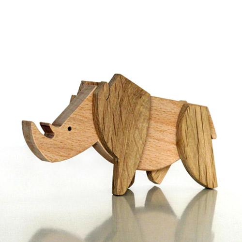 Магнитна дървена играчка-пъзел НОСОРОГ, изработена изцяло на ръка от масив 'ESNAF' by Archabits