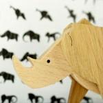Магнитна играчка - Носорог, изработена изцяло на ръка от масивна дървесина 'ESNAF' by Archabits
