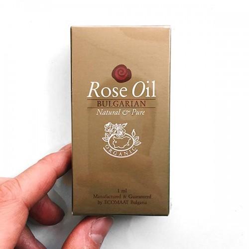 Био розово масло от Роза Дамасцена /собствени насаждения/ в дървена кутия с дърворезба във формата на розов цвят, 'Ecomaat' 1ml