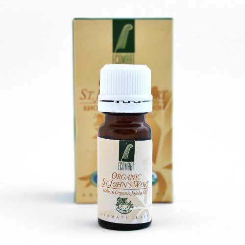 Био етерично масло от диворастящ Жълт Кантарион 10% в масло от жожоба при кожни проблеми 'Ecomaat', 10ml