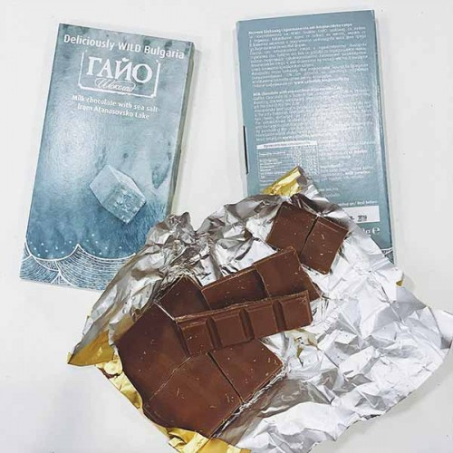 Млечен шоколад с фини кристали морска сол от Атанасовско езеро 'ГАЙО', 80 гр.