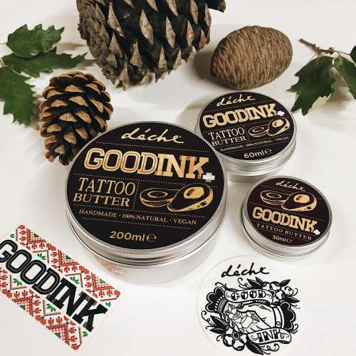 Крем за след татуиране /бътър/ с Авокадово масло, Невен, екстракт от Лайка и Мента GOODINK+ 'deche', 200g