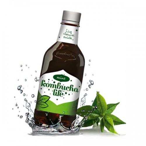 Комбуча с Мента и Малини - естествено газирана и тонизираща напитка, богата на пробиотици, 500ml