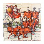Дървени кубчета 'Коледна приказка' с 6 различни цветни илюстрации 'Kubco' за деца на 2+ години
