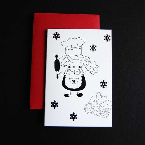 Картичка 'Правеща курабийки' с авторска илюстрация на Ася Колева в червен плик, Бяла лодка