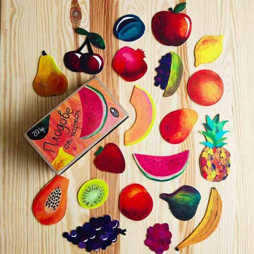 Плодове от картон в естествени цветове и форми - 20 броя в кутия, Бяла лодка