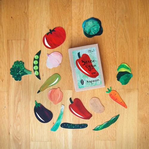 Зеленчуци от картон в естествени цветове и форми - 15 броя за игра, Бяла лодка