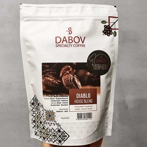 DIABLO House Blend - 100% кафе Арабика, DABOV Specialty Coffee - с нотки на шоколад и лешници, 200г