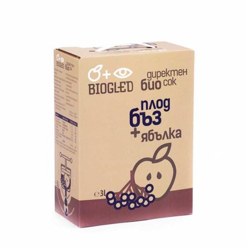 Сок от ябълки и черен бъз БИО за директна консумация /без добавена захар/ 'BIOGLED', 3 литра