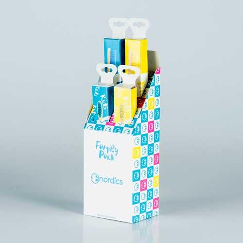 Бамбукови четки за зъби с цветни влакна /100% био-разградими/ 'Семеен пакет', Nordics