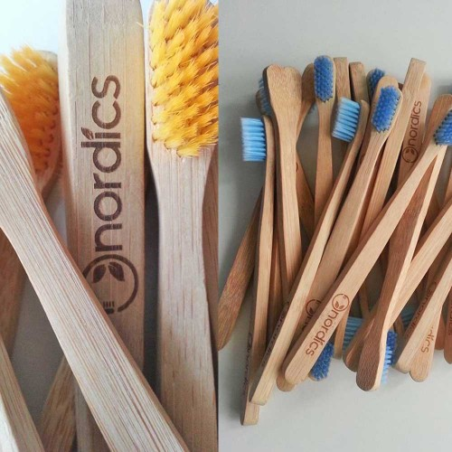 Бамбукова четка за зъби с Цветни влакна /жълти, розови или сини/, 100% био-разградима, Nordics