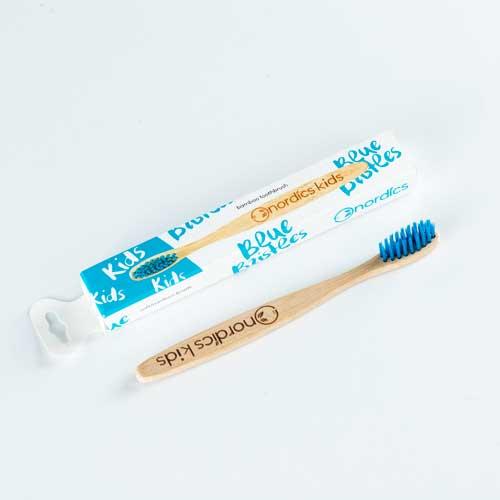 Бамбукова четка за зъби за деца със сини влакна /100% био-разградима/, Nordics