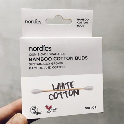 Бамбукови клечки за уши /био-разградими/ с бял био памук 'Nordics', 100 бр.