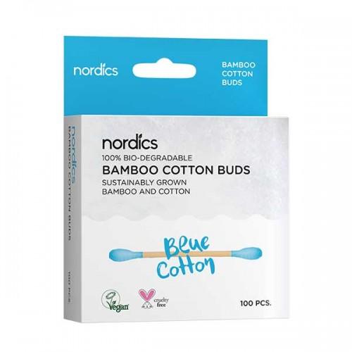Бамбукови клечки за уши /детски, био-разградими/ със син био памук 'Nordics', 100 бр.