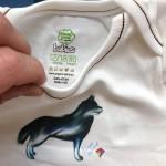 Бебешко боди от 100% органичен памук без никел с илюстрация 'Хъски', 6-12 и 12-18 месеца