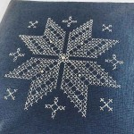 Картичка с бродерия на фрагмент от българска шевица /коледна в синьо/, размер 15х15см