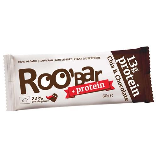 Протеинов бар с какао и чиа + 25% оризов протеин /суров, веган, био/ Roobar, 60g