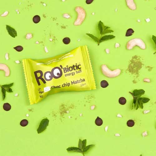 Суров енергиен бонбон с Матча, Шоколадови капки + пробиотик /веган/ Roo'biotic, 22г