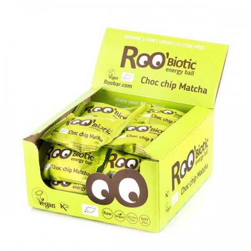 Суров енергиен бонбон с Матча, Шоколадови капки + пробиотик /веган/ Roo'biotic, КУТИЯ 20 броя х 22г