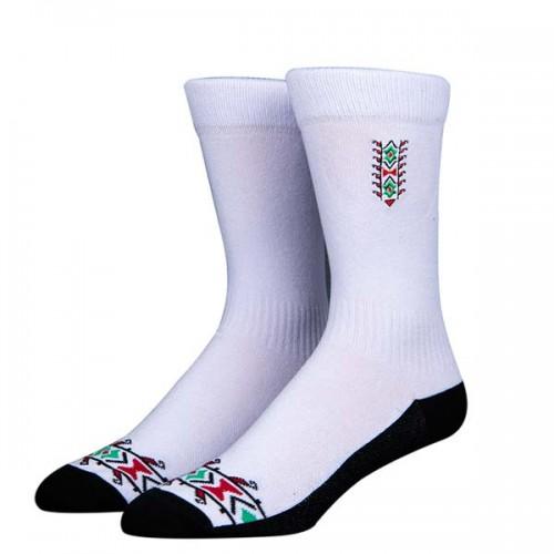 Чорапи Stinky Socks 'Makaz White' с бродерия на шевица - средно дълги с антибактериално покритие