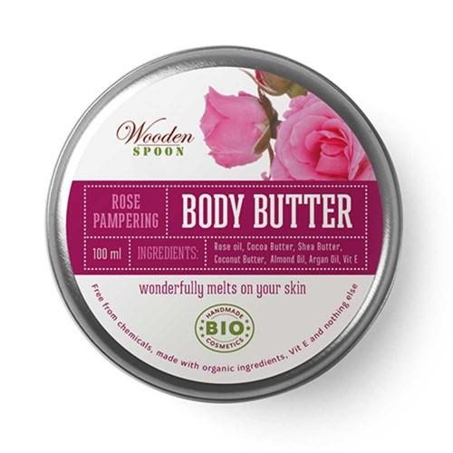 Крем за тяло с био Розово и Бадемово масло 'Rose Pampering' БИО, Wooden Spoon