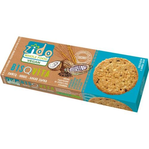 Пълнозърнести бисквити от лимец BISQVITA с Кокос и Какаови зърна /веган/ 'Zido', 115 г