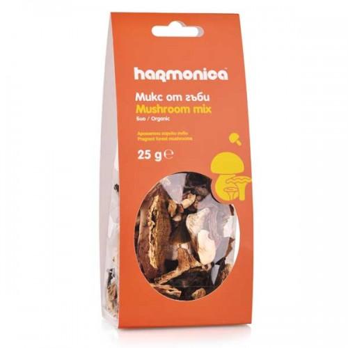 Манатарка, Пачи крак, Тръбенка и Майска гъба - микс от био сушени диворастящи гъби 'harmonica' от района на Средна гора