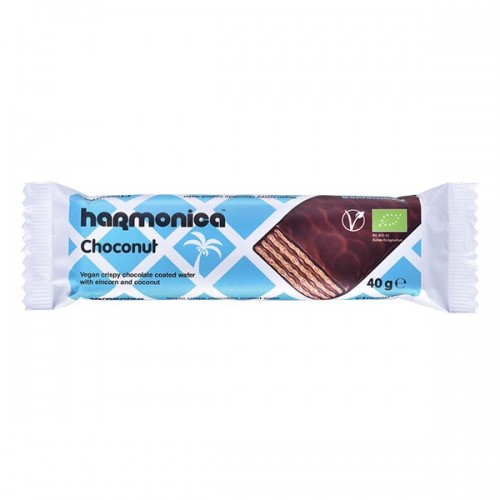 Вафла с кокос и лимец, покрита с черен шоколад /био, веган/ 'harmonica', 40g