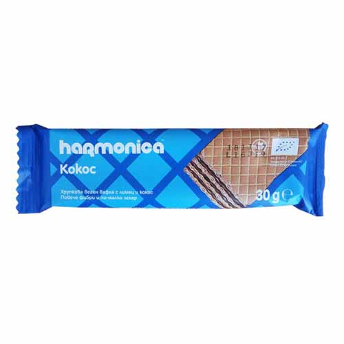 Вафла /био, веган, хрупкава/ КОКОС с био брашно от Лимец и Какао 'harmonica', 30g