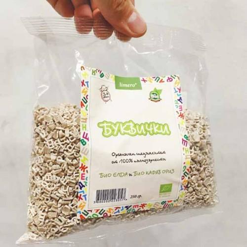 Безглутенови буквички от елда и ориз БИО 'limero', 250 гр.