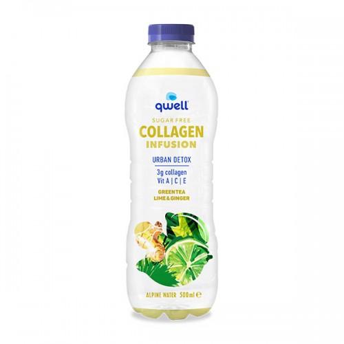 Колагенова вода QWELL URBAN DETOX без добавена захар с вкус на лайм и джинджифил + Витамини A, E и екстракт от зелен чай, 500ml