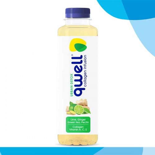 Колагенова вода без захар с високоусвоим хидролизиран колаген с на лайм и джинджифил QWELL URBAN DETOX, 475ml