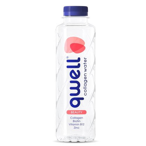 Вода с колаген /хидролизиран, Peptan®/ qwell BEAUTY с Биотин, Витамин В12 и Цинк, 2 бутилки х 475ml
