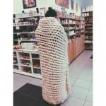Одеяло от 100% небагрена българска овча вълна /плетено на ръка/, 140х180cm