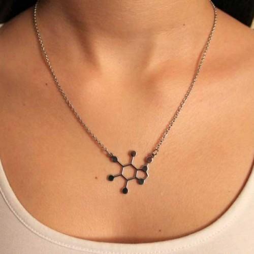 Колие от медицинска стомана с молекулата на шоколада 'Теобромин' /не потъмнява, хипоалергична/