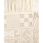 Зимен шал в екрю и бежово с автентични мотиви от Софийско с 50% вълна 'ШЕВИЦА', 36 x 180 cм