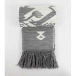 Зимен шал 'Дървото на живота' в бяло/сиво с автентични мотиви от Чипровци и 50% вълна /плетен/, ШЕВИЦА