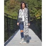 Зимен шал в бяло/тъмно сиво с автентични мотиви от Софийско и 50% вълна /плетен/, ШЕВИЦА