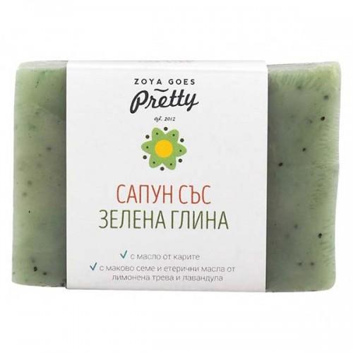 Сапун със зелена глина и лимонена трева за всеки тип кожа 'Zoya Goes Pretty', 110 г